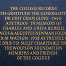 Photograph of a benefactors' plaque, Peterhouse, Cambridge. Welsh slate.